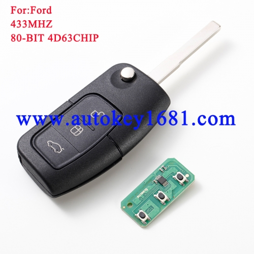 For Ford Focus 3 Button Remote Key Control 433 Mhz With 4d63chip Fo